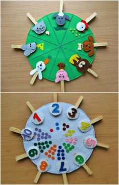 Double sided felt educational toys, matching number busy bag, animals and their food, preschool learning, clothespins game Doubles faces jouets éducatifs feutres correspondance numéro This toy is for children over 2 years. Made of felt in the form of bi Toddler Learning Activities, Montessori Activities, Learning Toys, Montessori Toddler, Montessori Education, Toddler Toys, Kids Crafts, Preschool Crafts, Preschool Kindergarten