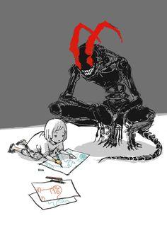 para muchos somos toxicos. pero para los que amamos eso no importa ¡¡¡¡¡ Creepy Drawings, Dark Art Drawings, Demon Drawings, Monster Concept Art, Monster Art, Monster Drawing, Creepy Monster, Scary Monsters, Arte Horror