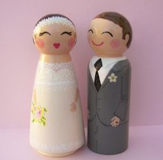 Custom Wedding Cake Toppers Portrait Peg Dolls Wood by Hand Painted Love Boxes on Etsy
