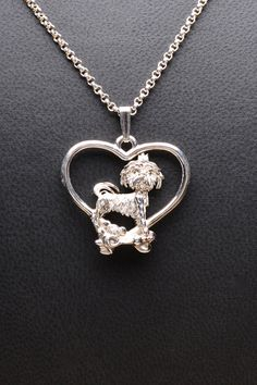 Sterling Silver Shih-Tzu Necklace by Donna Pizarro from her Animal Whimsey Collection of Fine Dog Jewelry and Shih-Tzu Jewelry