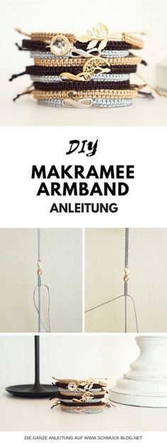 Simple instructions for macrame bracelets. Make your own macrame armband - DIY Schmuck Anleitungen - Diy Jewelry Rings, Diy Jewelry Unique, Diy Jewelry To Sell, Jewellery Box, Handmade Jewelry, Macrame Bracelet Diy, Macrame Knots, Armband Diy, Diy Bracelets Easy