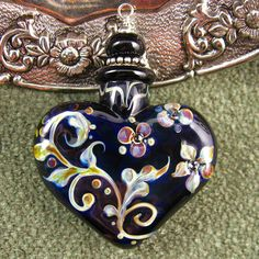 Lampwork Midnight Romance Aromatherapy Perfume Vessel by Kerribeads - reserved for Heidi