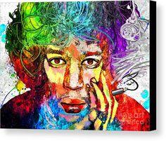 Jimi Hendrix Grunge Canvas Print featuring the mixed media Jimi Hendrix Grunge by Daniel Janda