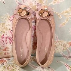 *HOST PICK 4/4* Brand new authentic kate spade Brand new light dusty pink (almost a nude color) leather with croc embellishment flats. Rhinestones and ribbon on the toe. Never been worn or tried on kate spade Shoes