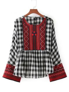 SheIn offers Embroidery Detail Gingham Babydoll Blouse & more to fit your fashionable needs. Kurta Designs Women, Blouse Designs, Ropa Shabby Chic, Plaid Shirt Women, Plaid Shirts, Long Blouse, Peplum Blouse, Collar Blouse, Blouse Online
