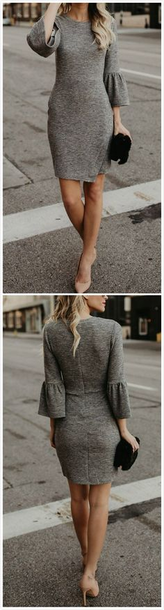Grey tall dress with black small hand bagcool
