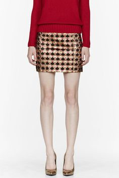 Gold Embroidered Jacquard Scale Skirt - Lyst