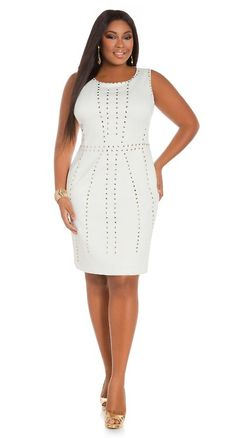 Liris Crosse in Ashley Stewart's Gold Studded Sleeveless Sheath