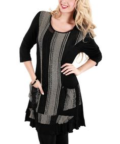 Look what I found on #zulily! Black & Gray Stripe Scoop Neck Tunic by Aster #zulilyfinds