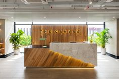 The canvas hotel front desk dental office design, front desk, jewelry shop Reception Counter Design, Office Reception Design, Modern Reception Desk, Office Table Design, Hotel Reception Desk, Lobby Reception, Spa Reception Area, Front Desk Hotel, Hospital Reception