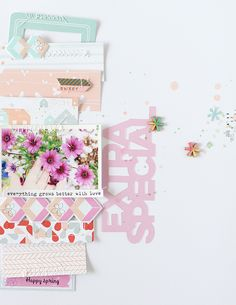 8.5 x 11 SCRAPBOOK LAYOUT ~ Love all the soft colours, makes the pretty flowers stand out in the photo.