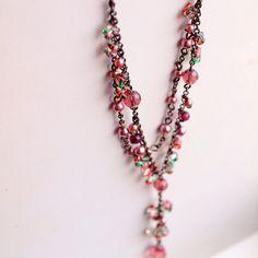 mauve Y necklace