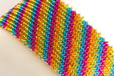 Diagonal Stripes Herringbone Stitch by KKbraceletsandmore on Etsy
