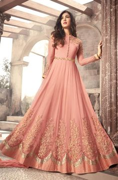 Sonal Chauhan Pink Color Net Designer Anarkali Suit latest designer silk punjabi, party wear georgette salwar suit, and in all fabrics available at VJV Indian Gowns Dresses, Indian Fashion Dresses, Abaya Fashion, Pakistani Dresses, Indian Outfits, Flapper Dresses, Emo Fashion, Indian Party Wear Gowns, Eid Dresses