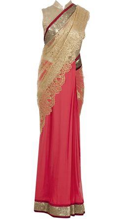 Coral sari with chantilly palu by VARUN BAHL. http://www.perniaspopupshop.com/designers-1/varun-bahl