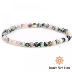 Green Moss Agate Bracelet - Grounding and Stability Moss Agate, Agate Stone, Stone Beads, Stackable Bracelets, Gemstone Bracelets, Gemstone Jewelry, Heart Chakra, Crystals And Gemstones, Mother Earth