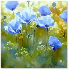 Синие маки #47, холст, масло 80x80, 2004