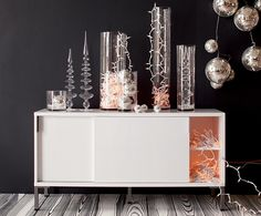 pretty party deco. grab all the glass and silver, add little lights, arrange.