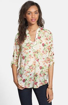 Lush Roll Tab Sleeve Woven Shirt (Juniors) available at #Nordstrom Love this top, have in several colors