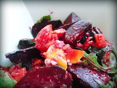 Roasted Beet and Mango Salad! Organic fruits, veggies, and cheese made in non-toxic cookware :)