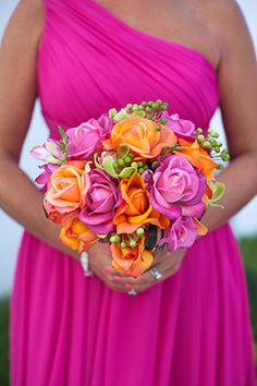 bright mexican wedding bouquet flowers