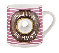 Amazon.com: Funny Food Donut Hole Mug- Donut Worry Be Happy,15oz: Home & Kitchen