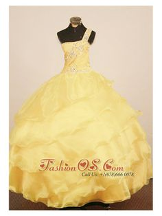 Custom Made Little Girl Pageant Dress One Shulder Neck Floor-Length Yellow Ball Gown  http://www.fashionos.com  The one shulder strap ball gown features beading on the fitted bodice and strap and waistline while the silhouette has stunning diagonal tiered ruffles. zipper up in back completes the look.