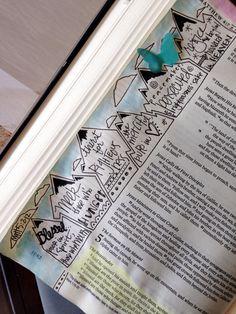 Bible journaling the Beatitudes Faith Bible, My Bible, Bible Art, Bible Scriptures, Book Art, Bible Study Journal, Journal Pages, Art Journaling, Scripture Journal