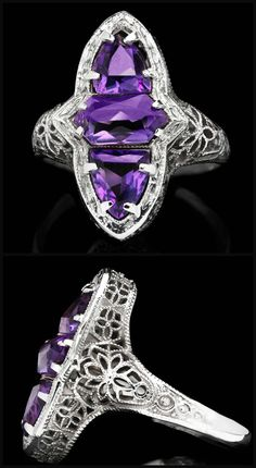 ll love, my dears. This Art Deco ring dates to the and features several rich, purple amethysts set in a lacy filigree setting of white gold. Who calls dibs? Purple Rings, Purple Jewelry, Amethyst Jewelry, White Gold Rings, Amethyst Rings, Art Deco Ring, Art Deco Jewelry, Vintage Jewelry, Jewelry Design