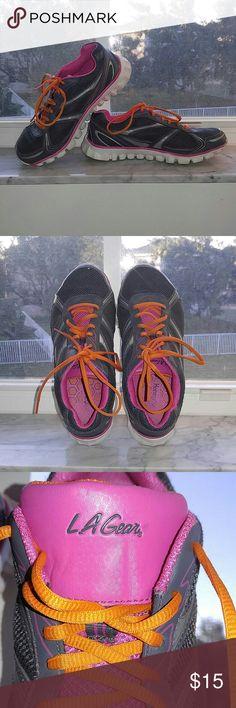 PRICE DROP! LA GEAR Athletic Sneakers LA GEAR athletic sneaker. Gray, pink, orange. Size 6.5. Lots of tread on soles. Just broken in. LAGear Shoes Sneakers