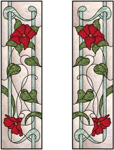Vertical Stained Glass Window With Flowing Roses Design