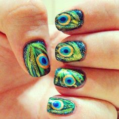 Peacock nails, wish i had the patience to do this! #nails #manicure #nailpolish