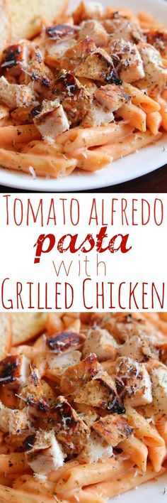 Tomato Alfredo Pasta with Grilled Chicken - A family favorite dinner that even tastes amazing leftover.