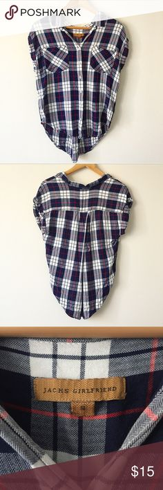 Jachs Girlfriend Plaid Top Super cute cap sleeved plaid top from JACHS GIRLFRIEND. Flowy rayon material and front pockets. Blue, red, and white. Excellent used condition! Jachs Girlfriend Tops