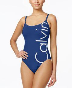 Calvin Klein Logo Classic One-Piece Swimsuit