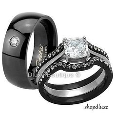 His & Hers 4 Pc Black Stainless Steel CZ Wedding Engagement Ring Band Set