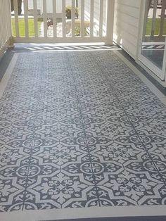 Stenciling A Concrete Floor Diy Ideas Stenciled Concrete Floor