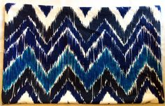 Blue Chevron Ikat Lumbar Pillow Cover (Aqua, Blue, Navy, White), Throw Pillow, Accent Pillow on Etsy, $40.00, Bobi Law Designs