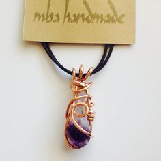 Natural Stone Amethyst Crystal Point Copper Wire by MbaHandmade