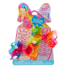 Claire's Girl's Jojo Siwa Rainbow Bow Shoe Charms In Rainbow. Jojo Siwa Bows, Jojo Bows, Jojo Siwa Birthday, 8th Birthday, Claire's Accessories, Girls Hair Accessories, Barbie Doll House, Barbie Dolls, Rainbow Bow