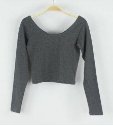 $7.94 Fashion Scoop Collar Color Block Long Sleeves Stripes Splicing Blended Short T-shirt