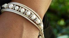 diy beaded leather wrap bracelet - YouTube