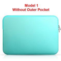 Chic Sleek NEW Solid Colored Neoprene Zipper Closure Waterproof Shockproof Notebook Laptop Sleeve Carry Case 3 Colors