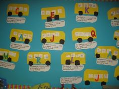 """Learning the letters with the student's names and a silly song. Craft, Music lesson, and phonics lesson all in one! """"The wheel's on Jacob's bus go jumpity, jump all through the town."""""""