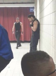 Dean and Roman before a match.