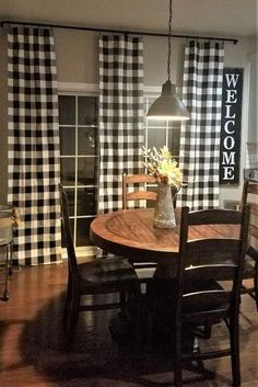 Black and White Buffalo Check Plaid Curtains Farmhouse. Available with Blackout, Thermal or Stain Resistant Cotton Lining (see description below). Includes One Pair of or wide drapes (see size Farmhouse Kitchen Curtains, Farmhouse Style Kitchen, Modern Farmhouse Kitchens, Home Decor Kitchen, Farmhouse Decor, Country Kitchen, Kitchen Ideas, Kitchen Sink, Decorating Kitchen