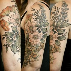 One shot floral on Lida. Thank you for being so tough, lady!! California native plants: CA wild rose, CA poppy, fremontia, lupine, and silhouettes of CA sagebrush.