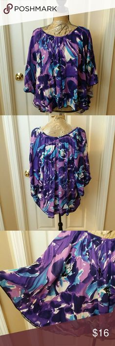 Fun & Flirty Top by Ruby Moon Size 3x Super cute top. Very roomy.  Front is slightly higher than the back. Clean, barely worn and in excellent condition! Ruby Moon Tops