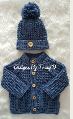 Gwyn Baby Cardigan, Hat & Booties knitting pattern in 2 sizes & Knitting pattern by Designs by Tracy D - Baby sweater patterns - Baby Cardigan Knitting Pattern Free, Baby Sweater Patterns, Knit Baby Sweaters, Baby Clothes Patterns, Baby Patterns, Baby Knits, Crochet Baby Clothes Boy, Knitting Patterns Boys, Baby Knitting Free