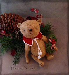 Thread Bears® artist ANTiQuE Style CHRiSTMaS PRiMiTiVe Bear -- Holiday Decor